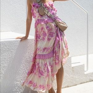 Spell & the Gypsy coco lei strappy gown NWT Large